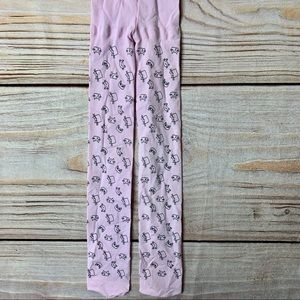 Other - Pink tights with cat all over print 4-6x